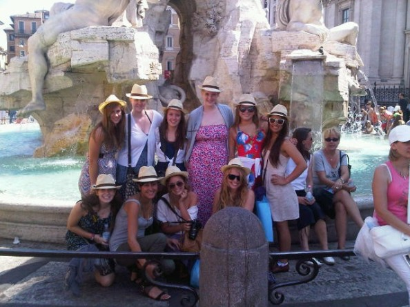 A group of students from 2011 in front of Rome's famous Fountain of the Four Rivers